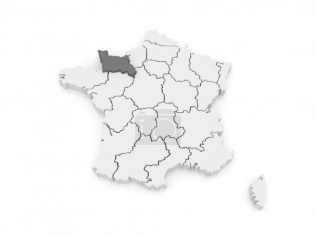 Map of Lower Normandy. France.