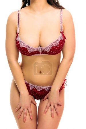 Photo pour Femme sexy en maillot de bain, fond, isolé, fond blanc - image libre de droit