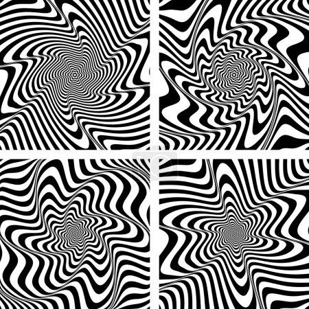 Illustration pour Illusion de torsion et mouvement de rotation. Set de designs abstraits. Art vectoriel . - image libre de droit