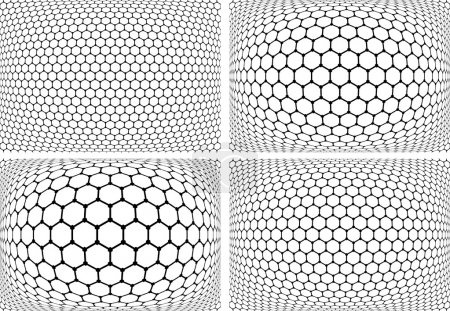 Hexagons patterns. Geometric backgrounds set.