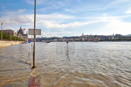 Flooded street in Budapest