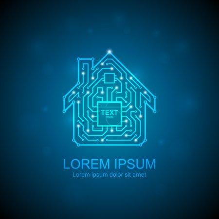 Circuit board house icon