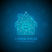 Circuit board house icon Home automation concept Vector illustration