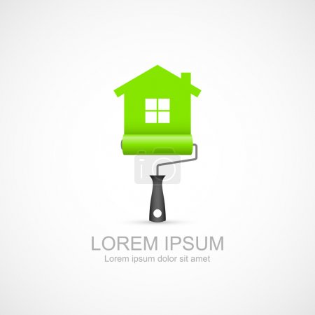 Illustration pour Rouleau de peinture avec icône de symbole de maison verte. Illustration vectorielle Eps 10. Facile à changer de couleur - image libre de droit