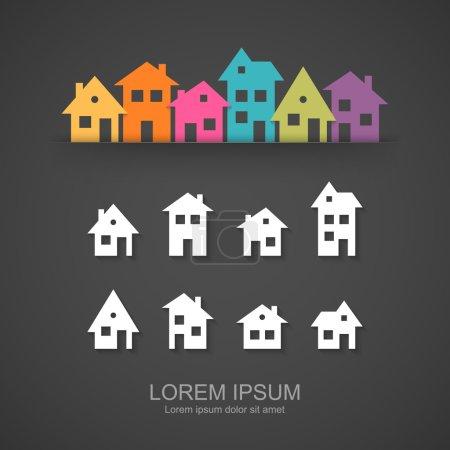 Illustration for Suburban homes icon set. Vector illustration - Royalty Free Image