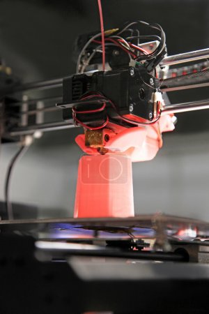Photo for Detail of 3d printer printing a plastic piece - Royalty Free Image