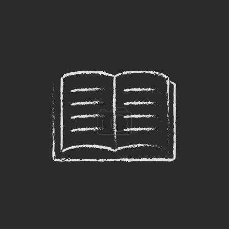 Photo pour Livre ouvert dessiné à la main à la craie sur un tableau noir icône blanche isolé sur un fond noir - image libre de droit