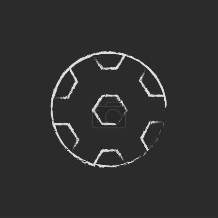 Photo pour Balle de football dessinée à la craie sur un tableau noir icône blanche isolée sur un fond noir - image libre de droit
