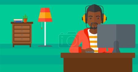 Illustration pour Un homme afro-américain dans un casque assis devant un écran d'ordinateur avec la souris à la main sur fond de salon vecteur plat illustration de conception. Mise en page horizontale - image libre de droit