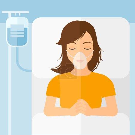 Illustration pour Une femme couchée dans un lit d'hôpital avec un masque à oxygène tandis que la transfusion sanguine exécute vecteur plat illustration de conception. Aménagement carré - image libre de droit