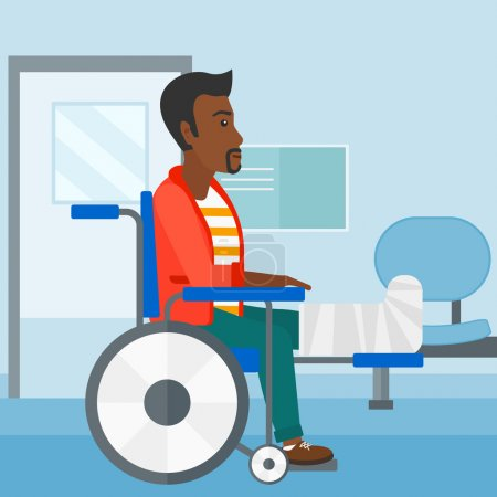 Illustration for An african-american man with broken leg sitting in wheelchair on a background of hospital corridor vector flat design illustration. Square layout - Royalty Free Image