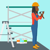 An african-american woman hitting a nail in the wall with a hummer on a background of room with paint cans and ladder vector flat design illustration Square layout