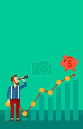Illustration pour Un homme hipster avec la barbe regardant à travers le verre espion à la tirelire debout au sommet du graphique de croissance sur un fond vert vecteur plat illustration de conception. Mise en page verticale - image libre de droit