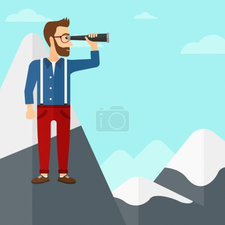 Illustration for A hipster man with the beard standing on the top of mountain and looking through spyglass on the background of blue sky vector flat design illustration. Square layout - Royalty Free Image