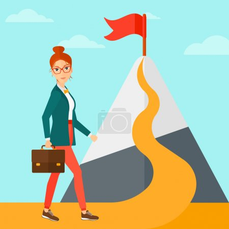 Illustration for A woman with a suitcase in hand standing on a road leading to the top of the mountain with a flag on the background of blue sky vector flat design illustration. Square layout - Royalty Free Image