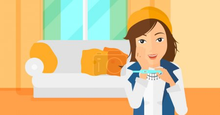 Illustration for A delighted woman looking at positive pregnancy test on the background of living room vector flat design illustration. Horizontal layout - Royalty Free Image