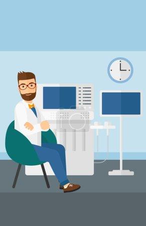 Male ultrasound specialist.