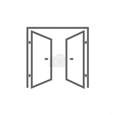 Open doors line icon.