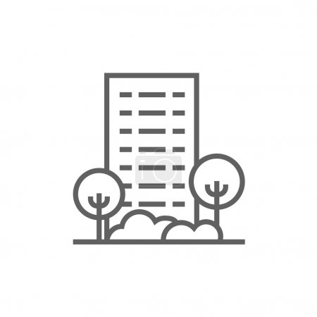 Residential building with trees line icon.