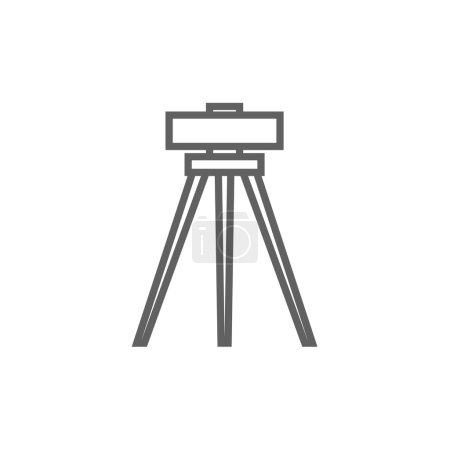 Theodolite on tripod line icon.