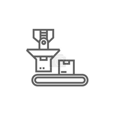 Cardboard box on conveyor belt thick line icon wit...