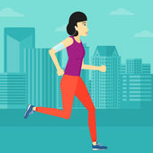 An asian woman training with earphones and a smart phone armband on a city background vector flat design illustration Square layout