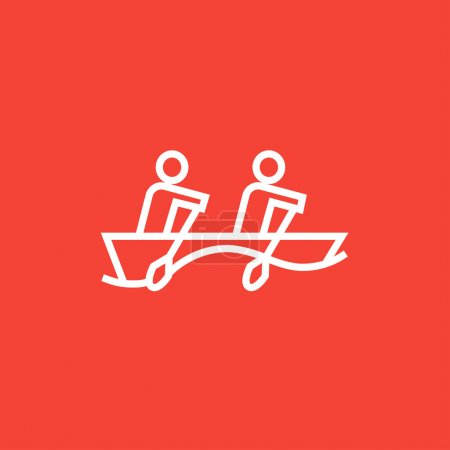 Tourists sitting in boat line icon.