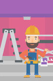 A hipster man in helmet with a hummer and a nail in hands standing on the background of purple walls paint cans and ladder vector flat design illustration Vertical layout