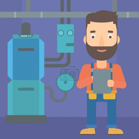 Illustration for A hipster man with the beard making some notes in his tablet on a background of domestic household boiler room with heating system and pipes vector flat design illustration. Square layout. - Royalty Free Image
