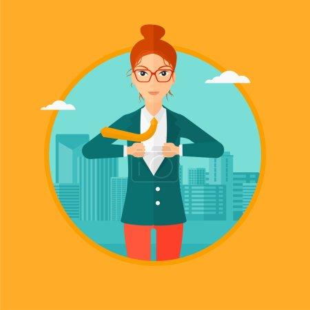 Illustration pour Une femme d'affaires ouvrant sa veste comme un super-héros sur le fond de la ville moderne. Superhéros femme d'affaires. Illustration vectorielle du dessin plat dans le cercle isolé sur fond . - image libre de droit