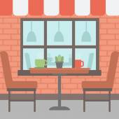 Background of street cafe Cafe on the street with table and chairs vector flat design illustration Outdoor cafe Square layout