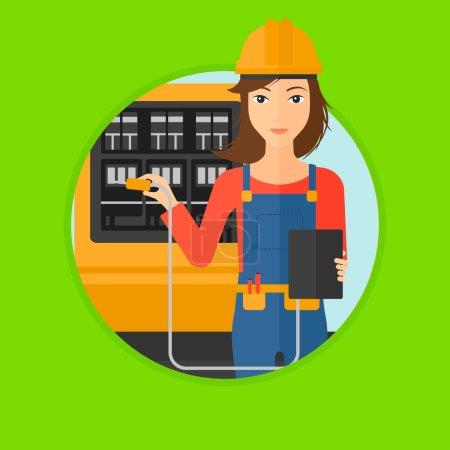 Illustration pour Une femme au casque mesurant la tension de sortie. Jeune électricien avec équipement électrique devant le standard. Illustration vectorielle du dessin plat dans le cercle isolé sur fond . - image libre de droit