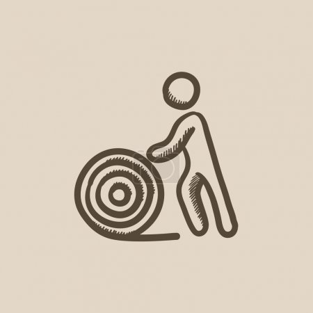 Man with wire spool sketch icon.
