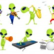 Постер, плакат: Vector set of green aliens music illustrations