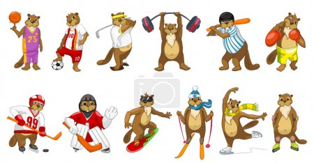 Vector set of cute beavers sport illustrations.