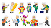 Vector set of gray-haired old man illustrations