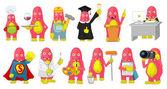 Vector set of cute pink monsters cartoon illustrations