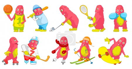 Vector set of pink monsters sport cartoon illustrations.