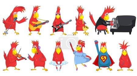 Vector set of funny parrots music illustrations.