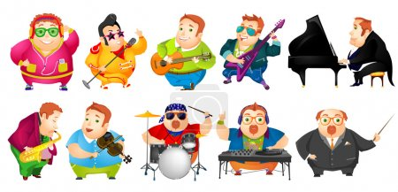 Vector set of funny fat man music illustrations.