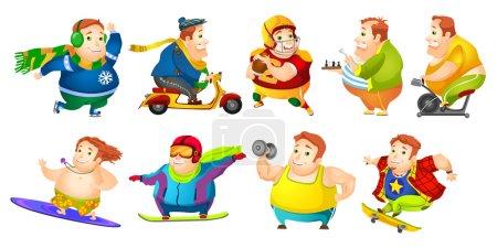 Vector set of funny fat man sport illustrations.
