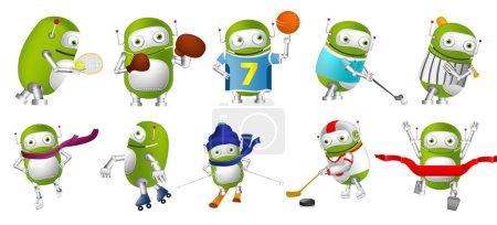 Vector set of green robots sport illustrations.