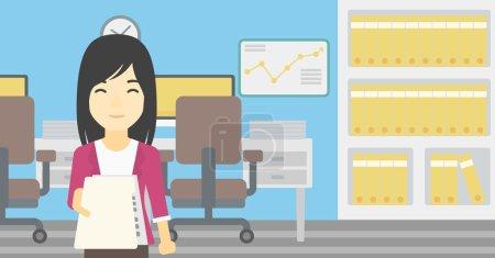 Illustration pour Une jeune femme d'affaires asiatique donnant un curriculum vitae en fonction. Femme donnant à l'employeur son curriculum vitae. Concept d'entrevue d'emploi. Illustration vectorielle de design plat. Mise en page horizontale . - image libre de droit
