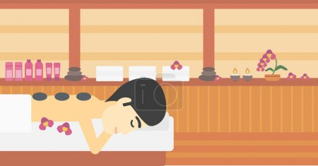 Man getting stone therapy vector illustration.