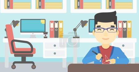 Illustration pour Un jeune homme asiatique faisant un modèle avec un stylo 3D. Homme dessin forme géométrique par stylo 3d. Un homme qui travaille avec un stylo 3D. Illustration vectorielle de design plat. Mise en page horizontale . - image libre de droit