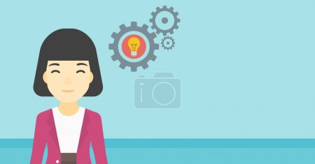 Illustration for An asian business woman having a business idea. Successful business idea concept. Business woman with business idea bulb in gear. Vector flat design illustration. Horizontal layout. - Royalty Free Image