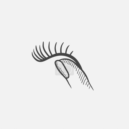 False eyelashes sketch icon.