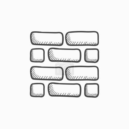 Brickwall sketch icon.