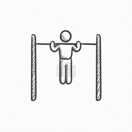 Gymnast exercising on bar sketch icon.