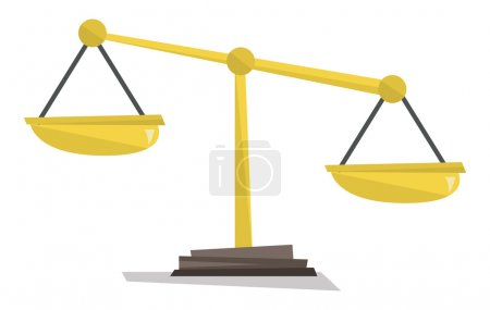 Illustration for Gold scales of justice vector flat design illustration isolated on white background. - Royalty Free Image